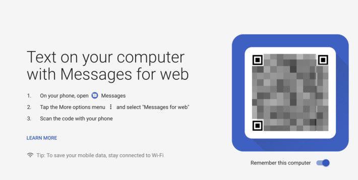 只要用新版《 Android 訊息》掃描瀏覽器顯示的 QR Code ,就可以跟手機配對。
