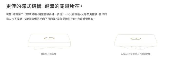 Apple 在 MacBook 網頁介紹他們設計的第二代蝶式結構