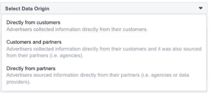 廣告主要上傳「自訂廣告受眾」名單的話,就要申報資料從哪裡取得。