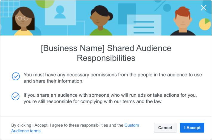 要跟合作伙伴分享「自訂廣告受眾」名單的話,需要接受責任條款。