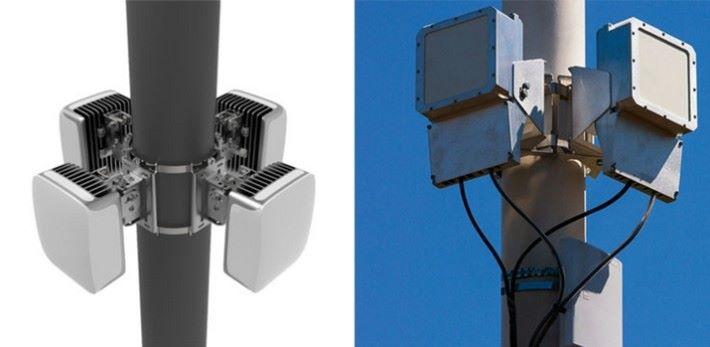 Terragraph 節點,架設在街燈柱上,構成一個低成本 Gigabit 無線網絡。預計 2019 年進行測試。