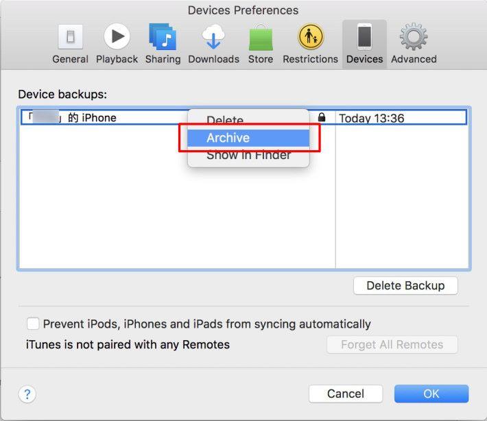 5. 當完成備份後,點選畫面左上角的「 iTunes > 偏好設定 」,在「偏好設定」對話框裡點擊「備份」頁面,在列表中應該會看到剛才的備份,用滑鼠右鍵點擊那備份,就可以在功能選單中選取「 Archive (歸檔)」。