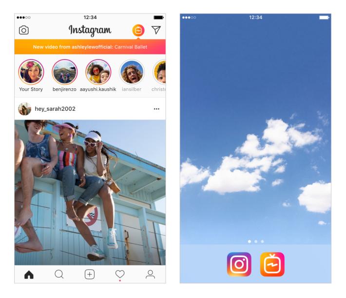 除了在 IGTV App 內之外,也可以在 Instagram App 裡收看 IGTV 。