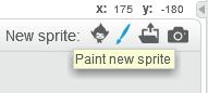 Step 1: 先按下「Paint new sprite」。