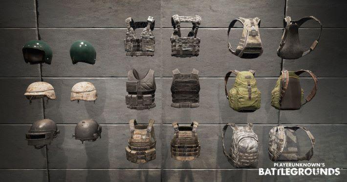 頭盔、避彈衣、背包,上到下一至三級排列。
