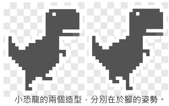 小恐龍的兩個造型,分別在於小恐龍腳的姿勢。