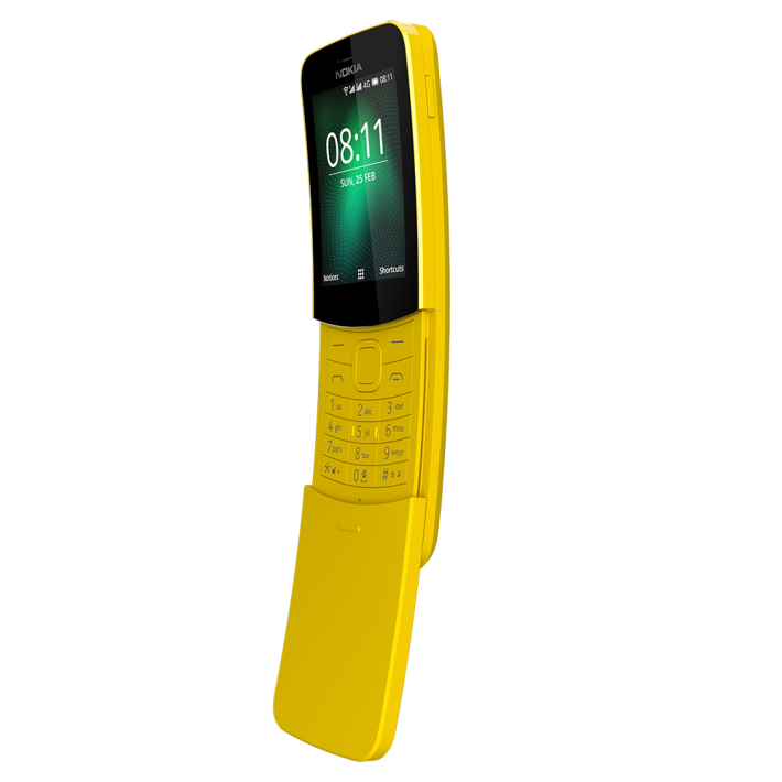 向「舊蕉」8110 的致敬復刻作,一樣有令大家懷念的滑蓋設計,一滑蓋即可接聽或掛斷電話。
