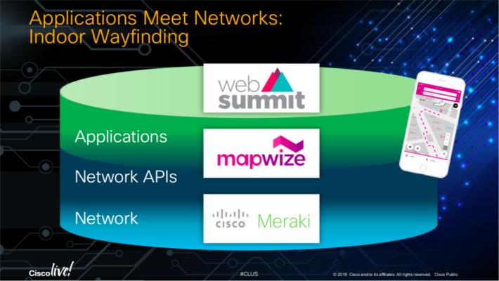以 Web Summit 的流動程式為例,以 API 存取 Meraki 的定位資訊,提供帶路功能。