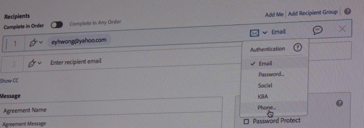 在收件人認證方法中選擇「Social」,代表對方需登入 Facebook 等社交網站才能簽署,而「Phone」則代表對方要輸入 SMS 密碼方可簽署。