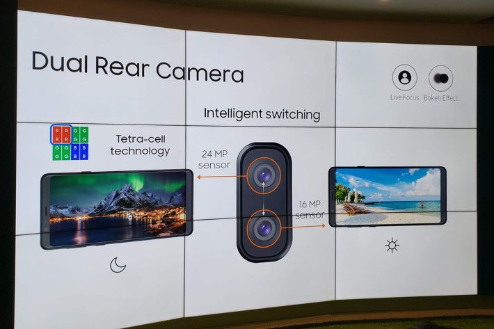 Galaxy A8 Star 會智能地因應光線強度去轉換 24MP 和 16MP 鏡頭,從而拍出亮麗細緻的相片。