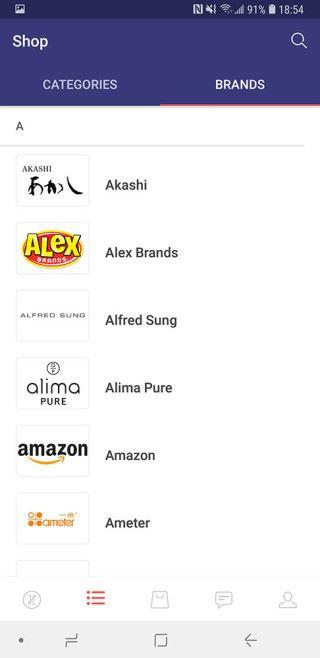 除了可依據產品類別搜尋之外,也可以根據品牌去搜尋貨品。