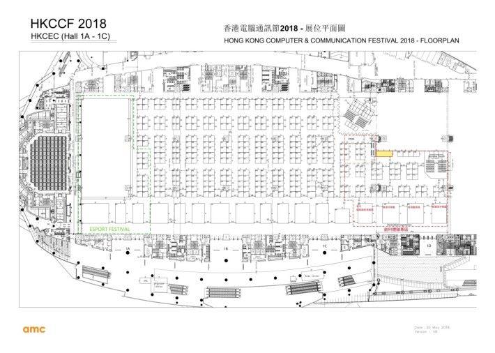 會展電腦節一樓地圖,綠框位置為 CGA 電競專區,紅框則為新的「創科體驗專區」,可見今年在右邊擴大了場館面積。(只供參考,官方日後可能會更新。)