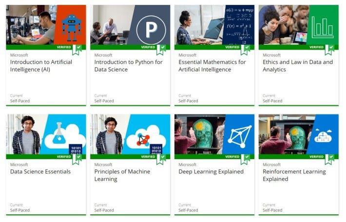 Microsoft 人工智能認證課程設 10 個科目,約 150 小時訓練,從淺入深完整學習人工智能。