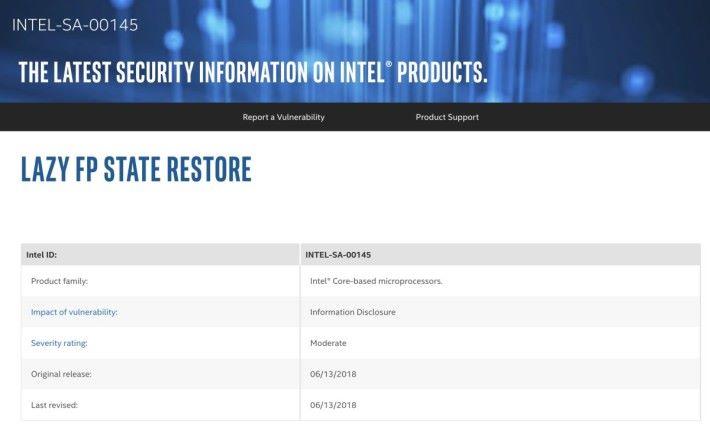 Intel 發出公布說明「延遲 FP 狀態恢復」攻擊的問題