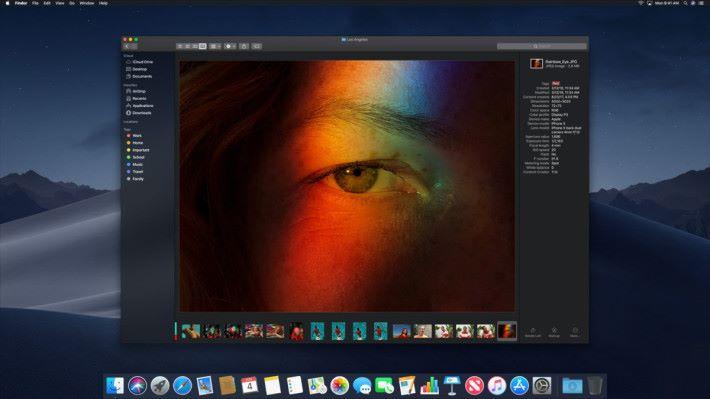 畫廊顯示方式提供更大的預覽、詳盡的圖片資料和即時可用的編輯工具。