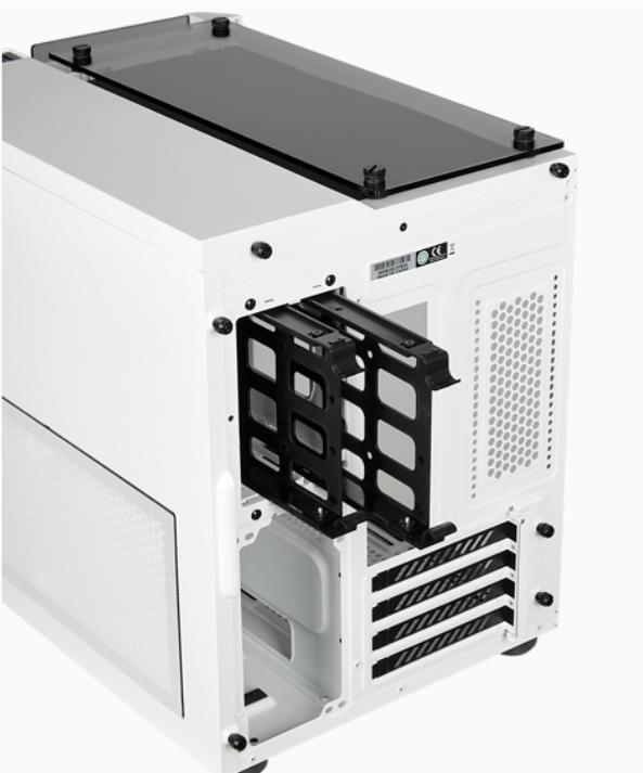 玻璃那邊放主機板和顯示卡,白色那邊就放火牛及硬碟,火牛會打側放在圖片的左下角部分。
