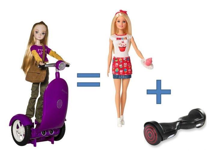 孩子要把公仔玩偶,放在踏上平衡車並不容易,玩具十分有挑戰性。