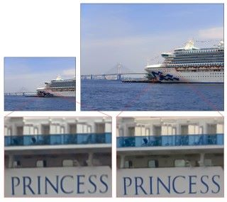 左邊為傳統 1,200 萬像素感光元件拍攝的照片,而右邊則是新型 4,800 萬像素感光元件拍的照片(怎麼不跟現在旗艦機的 2,000 像素感光元件比呢⋯⋯)(點擊圖片可放大)