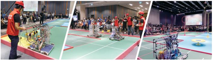 比賽要求先用手動機械人傳球給自動機械人,再由自動機械人前往指定位置擲球,要準確落在盤上才算完成,難度極高。