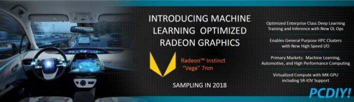 AMD 於今年年初的 CES 發表會,提及過 7nm Radeon Instinct MI25 將用「New High Speed I/O」。Source:PCDIY
