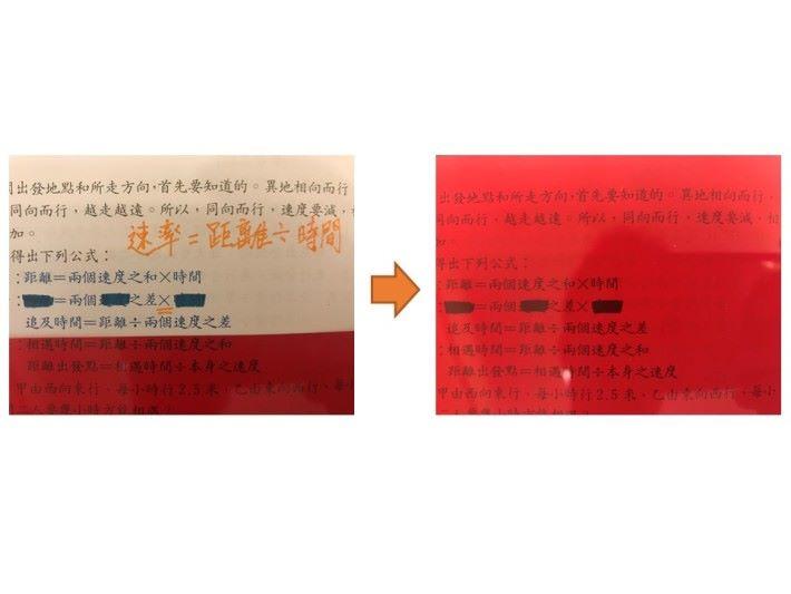 紅色隱形墊板加入了簡單的梯形三邊開口位,造出一個防掉落固定夾設計,方便同學把紅色隱形墊板夾在書上,又可作書籤用途。