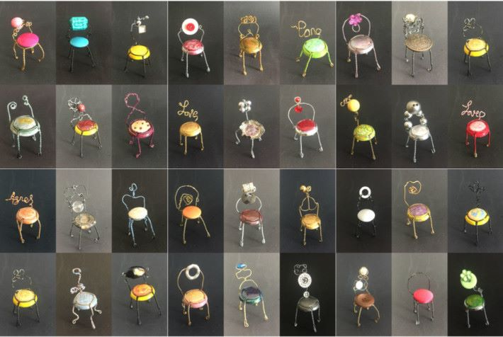 香檳蓋更可以扭成小椅子外形,再配搭不同的鈕扣或飾物,就可以成為小擺設。