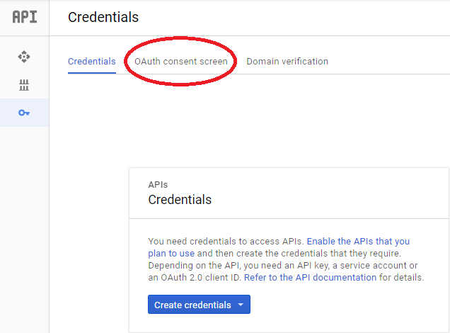 Step 5 : 跟著畫面, 選擇「 OAuth consent screen 」 分頁。