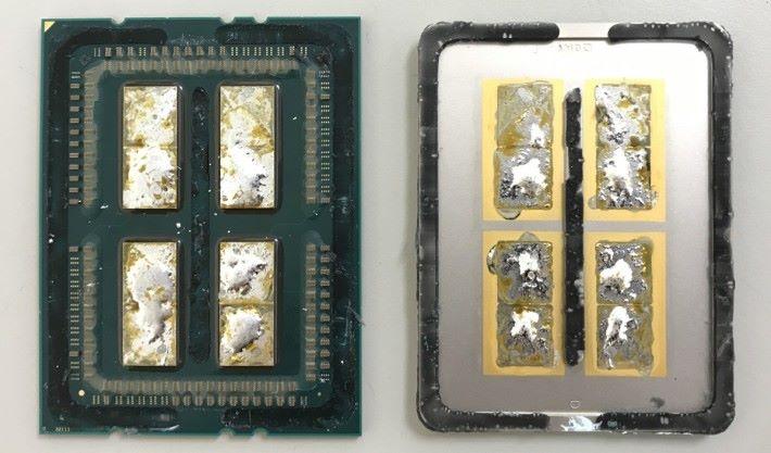 AMD Threadripper 1950X 開蓋後的樣子。圖片來源:De8auer