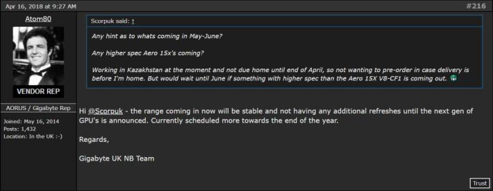 Gigabyte 英國代表曾於討論區中透露,新一代流動版 GeForce 顯示卡會於年底推出。