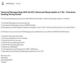 另一個報告就指 Samsung 預設的 Messages App 不按排程亂發短信