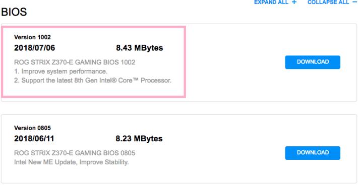 ASUS ROG Strix Z370-E Gaming 亦不約而同地更新 BIOS,來「支援最新的第 8 代 CPU」。