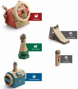 5 款紙皮控制器:軚盤 Toy-Con Car 、腳掣 Toy-Con Pedal 、飛機搖桿 Toy-Con Plane 、車匙 Toy-Con Key 和潛艇控制器 Toy-Con Submarine 。