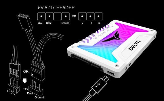 需接駁 5V ADD HEADER 才可透過主機板控制 SSD 燈效。