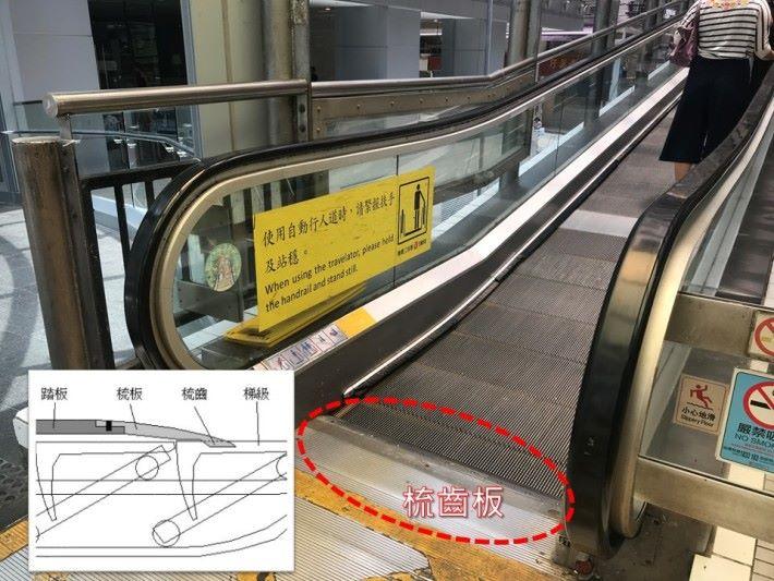 兩端的梯級踢板是弧面金屬,亦設有平行線坑紋,有助把障礙物推走。梯級底部的基部支架裝有輪子,以使能在平行線的軌道上行走。半山電梯的梯級闊度有1米,能夠讓兩個人同時企在一格梯級上。