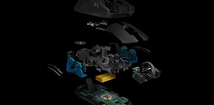 輕盈是這款滑鼠的特色之一。PRO 無線遊戲滑鼠就採用了 1mm 薄壁結構和獨特的內骨架設計,重量就只有 80g。