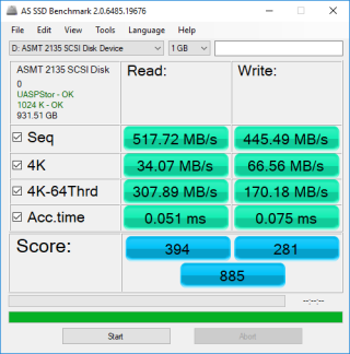 《 AS SSD Benchmark 》測試成績