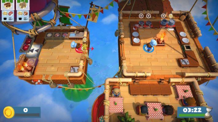 圖中這些情況就要左邊玩家不斷將食材投擲到對面。