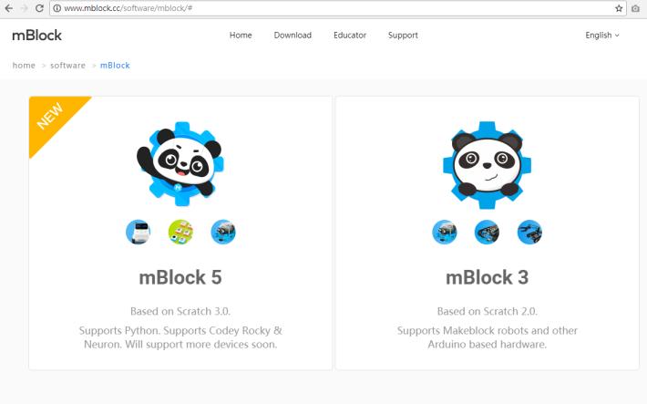 只需登入網址後,按下 mBlock 圖標,下載程式檔案,就可以將 mBlock 安裝在電腦上。
