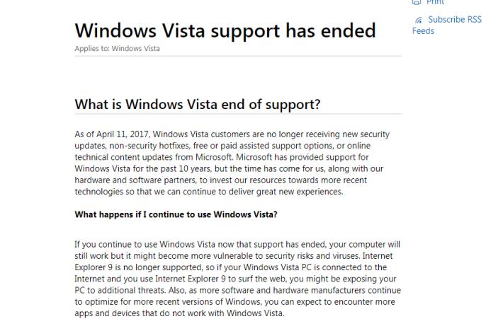 Window Vista 於 2017 年時停止支持服務。