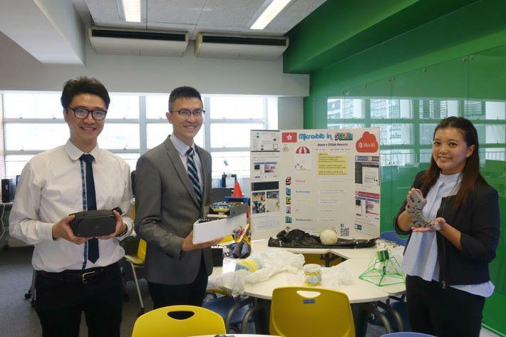 香港浸會大學附屬學校王錦輝中小學資訊科技科馮穎豪主任、盧志聰副校長及英文科助理主任梁靜巒(左起)分享運用電子設備的種種。