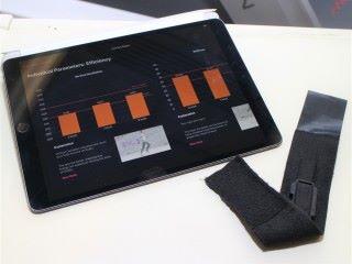 可穿戴設備體積細小, 內為陀螺儀,所產生的元數據配合 iPad 上傳雲端,以人工智能分析出 12 個運動數據。