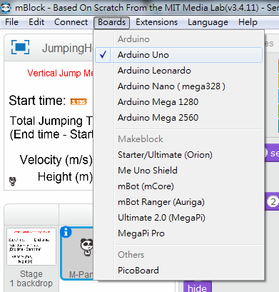 Step 2: 在 mBlock 的 Boards 選項中,選擇「 Arduino Uno 」, 讓程式與硬件連接。