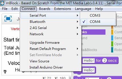 Step 3: 於「 Connect 」→「 Serial Port 」中選擇連接埠(一般來說,選擇數字較大的那一個埠),以令到 Arduino 開發板與電腦能夠溝通。