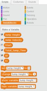 Step 4: 跟著開始為這次習作編寫程式,首先要新增6個變量,分別為 Jump Height 、 Jump Velocity 、 Start 、 Total Jump Time 、 t0 及 t1 。