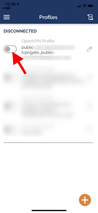 10. 在《 OpenVPN Connect 》首頁最上一項顯示剛匯入的 VPN 。點擊左邊的開關就開始連線;