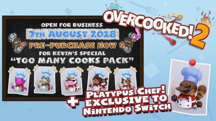 假如玩家在 8 月 7 日前(以購買店所屬時區計算)預購,可以得到 5 + 1 款 DLC 人物,而「鴨嘴獸廚師」就只有 Switch 限定。