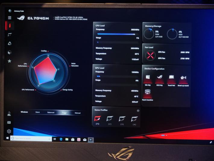 全新的管理工具《 Armoury Crate 》,介面比舊版,《 ROG Gaming Center 》簡潔易用。