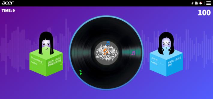 Acer Day 活動網站,可與其他國家的用戶一同玩音樂創作遊戲。