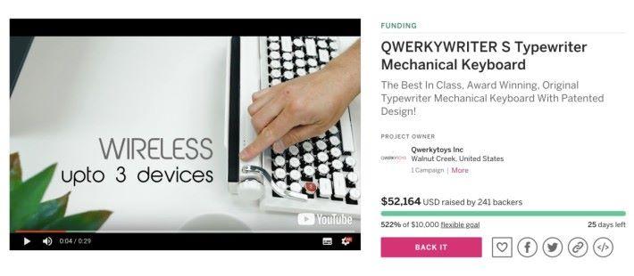 新版本 QWERKYWRITER S COLOR 在 Indiegogo 眾籌中,售價更便宜,而且有新功能和多種顏色選擇。