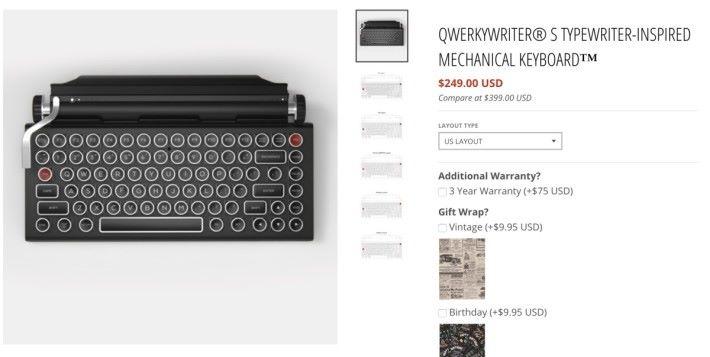 QWERKYWRITER S 原裝版在官方網店售 $249 美元(約港幣 $1,954 ),只是特典鍵盤的三折售價。